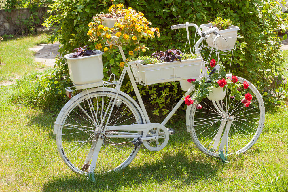 One of the Inexpensive backyard ideas is turning a bike into a planter