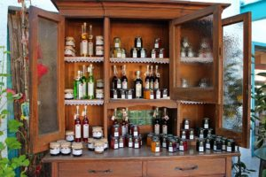 A cabinet with glass