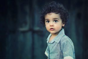 A distressed-looking kid.